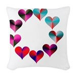 Circle of Iridescent Hearts Woven Throw Pillow
