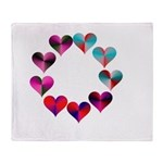 Circle of Iridescent Hearts Throw Blanket