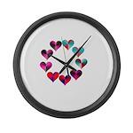 Circle of Iridescent Hearts Large Wall Clock