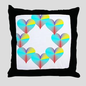 Circle of Rainbow Hearts Throw Pillow