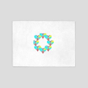 Circle of Rainbow Hearts 5'x7'Area Rug