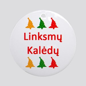 linksmy kaledy Round Ornament