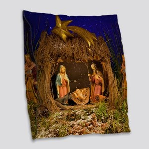 Nativity scene Burlap Throw Pillow