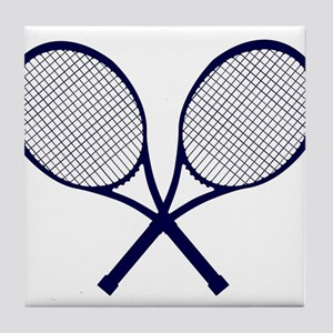 Crossed Rackets Silhouette Tile Coaster