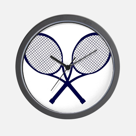 Crossed Rackets Silhouette Wall Clock