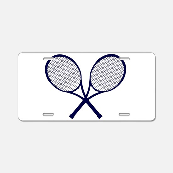 Crossed Rackets Silhouette Aluminum License Plate