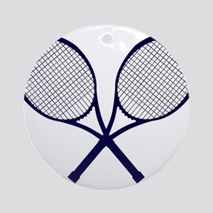 Crossed Rackets Silhouette Round Ornament