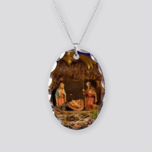 Nativity scene Necklace Oval Charm