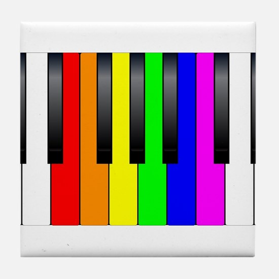 Trans Gay Piano Keys Tile Coaster