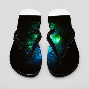 Glowing Neon Green & Blue Swirls Flip Flops