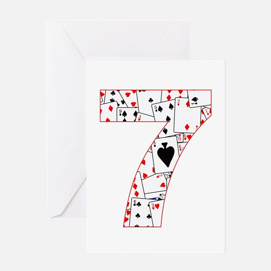 Number Seven Cards Greeting Cards