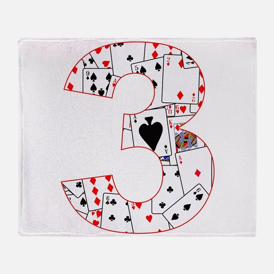 Number Three Cards Throw Blanket