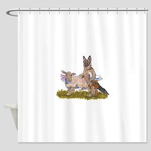 German Shepherd herding cartoon Shower Curtain