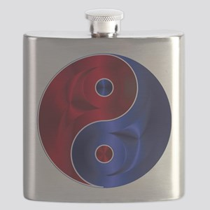 Metallic Red & Blue Yin & Yang Flask