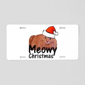 Meowy Christmas Aluminum License Plate