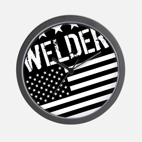 Welder: Black Flag (Circle) Wall Clock