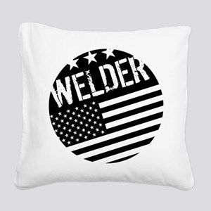 Welder: Black Flag (Circle) Square Canvas Pillow
