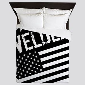 Welder: Black Flag (Circle) Queen Duvet
