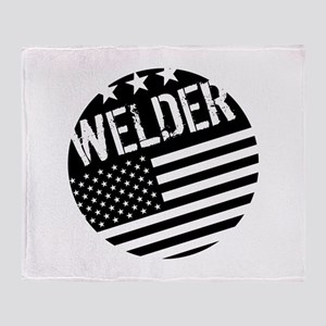 Welder: Black Flag (Circle) Throw Blanket
