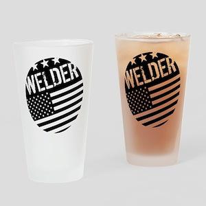 Welder: Black Flag (Circle) Drinking Glass