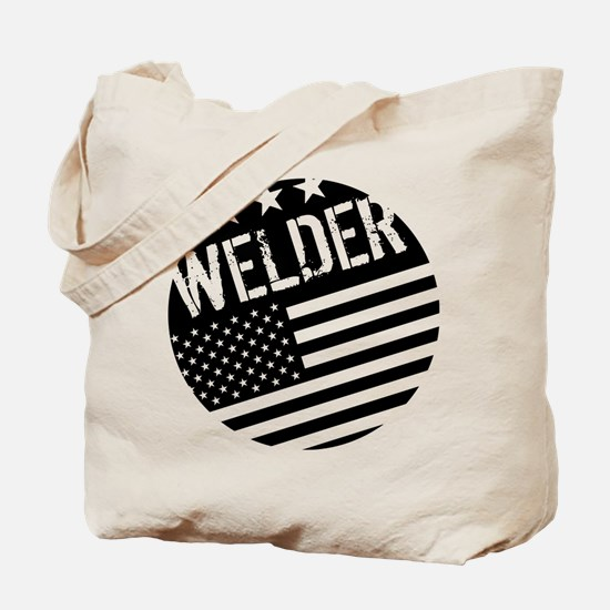 Welder: Black Flag (Circle) Tote Bag