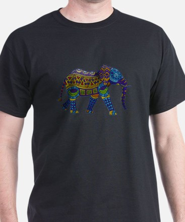 Blue Tribal Metallic Elephant T-Shirt
