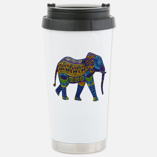 Blue Tribal Metallic El Stainless Steel Travel Mug