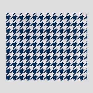 Blue, Navy: Houndstooth Checkered Pa Throw Blanket