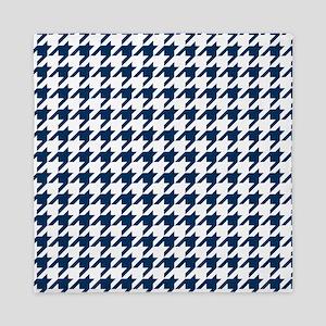 Blue, Navy: Houndstooth Checkered Patt Queen Duvet