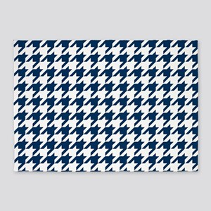 Blue, Navy: Houndstooth Checkered P 5'x7'Area Rug