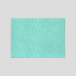 Mint Green Print 5'x7'Area Rug