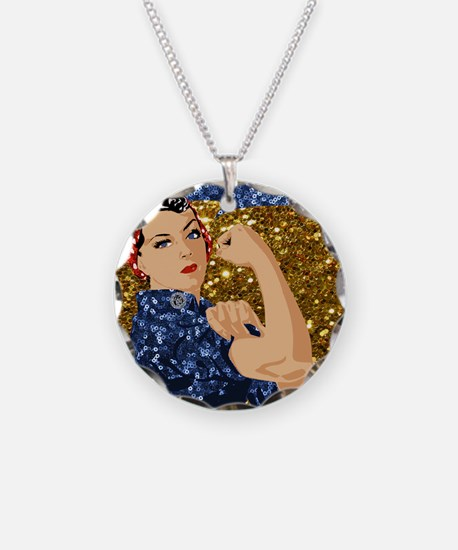 glitter rosie the riveter Necklace