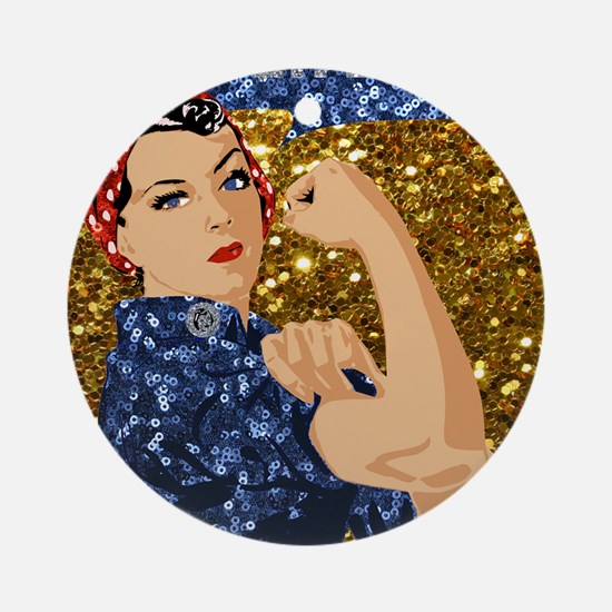 glitter rosie the riveter Round Ornament