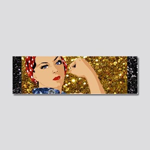 glitter rosie the riveter Car Magnet 10 x 3