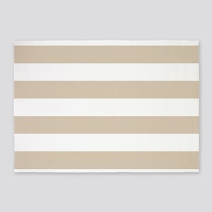 Brown, Beige: Stripes Pattern (Hori 5'x7'Area Rug