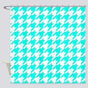 Blue Turquoise Houndstooth Checke Shower Curtain