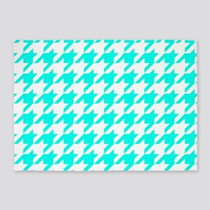 Blue, Turquoise: Houndstooth Checke 5'x7'Area Rug