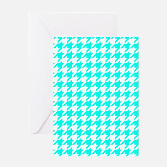Blue, Turquoise: Houndstooth Checker Greeting Card