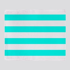 Blue, Turquoise: Stripes Pattern (Ho Throw Blanket