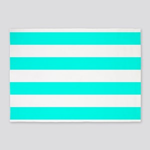 Blue, Turquoise: Stripes Pattern (H 5'x7'Area Rug
