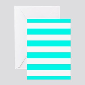 Blue, Turquoise: Stripes Pattern (Ho Greeting Card
