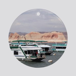 Houseboat, Lake Powell, Arizona, US Round Ornament