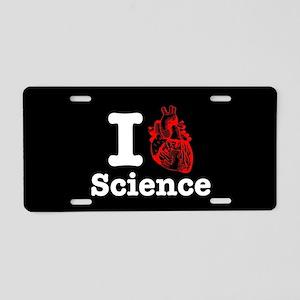 I Heart Science Aluminum License Plate