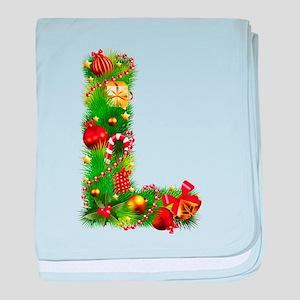 Christmas Letter L Alphabet baby blanket