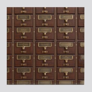 Vintage Library Card Catalog Drawers Tile Coaster