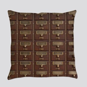 Vintage Library Card Catalog Drawe Everyday Pillow