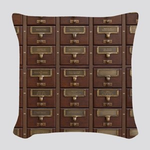 Vintage Library Card Catalog D Woven Throw Pillow