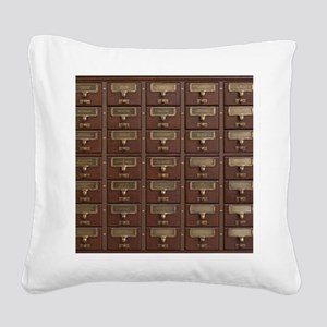 Vintage Library Card Catalog Square Canvas Pillow