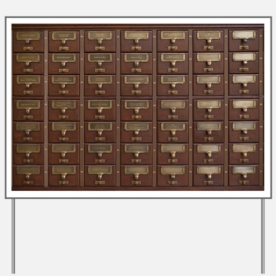 Vintage Library Card Catalog Drawers Yard Sign