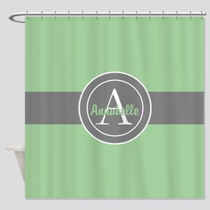 Green Gray Monogram Personalized Shower Curtain